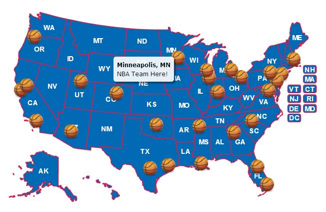 Use Custom Images As Location Markers HTMLJavaScript - Us map of nba teams