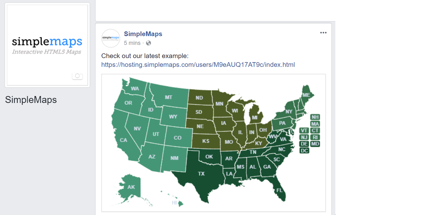 How to add an interactive map to facebook html5javascript heres an example of what your post might look like gumiabroncs Choice Image