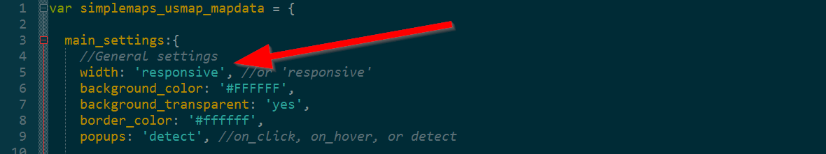If You Are Editing The Mapdata Js File In A Text Editor Give The Width In The Main Settings A Value Of Responsive