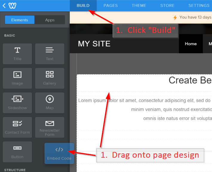 Drag Weebly Embed HTML