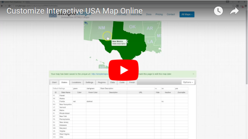 Us Map Coloring Tool Customizable USA Map Tool | Simplemaps.com